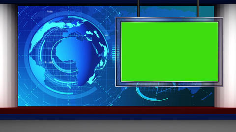 HD News-07 TV Virtual Studio Green Screen Background Blue with Globe and monitor Animation