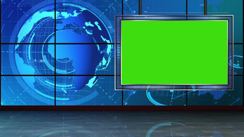 HD News-09 Virtual Studio Green Screen Background Blue with Globe and monitor Animation