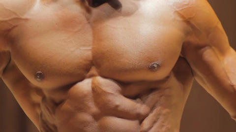 Close-up of strong masculine chest and ideal six-pack abs, male body of dreams Live Action