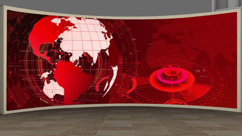 HD News-10 Virtual Studio Green Screen Background Red Colour with Globe Animation