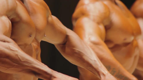 Masculine torsos of male bodybuilders standing in lineup, fitness competition Live Action