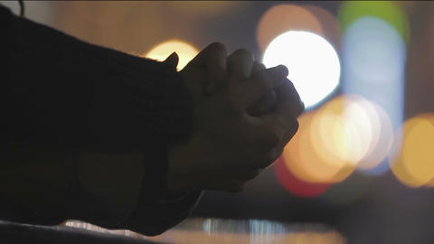 Hands with interlocked fingers closeup, sign of care and support, loving people ビデオ