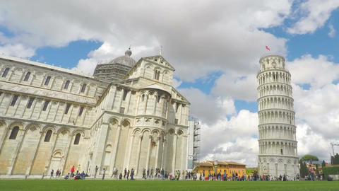 Happy tourists taking photos of Leaning Tower of Pisa in Italy, time lapse Footage