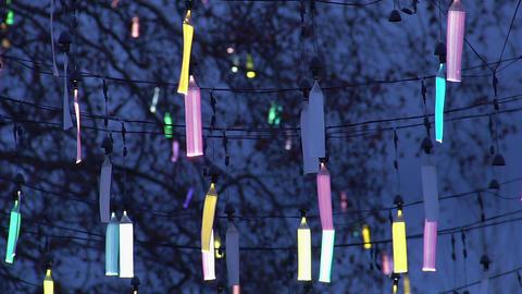 Creative design of city street illumination, festive fluorescent decoration Footage