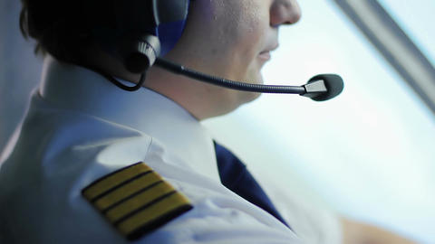 Tired air crew commander navigating airliner, responsible job, commitment Live Action