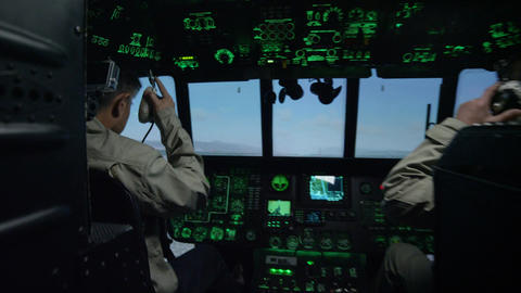 Pilots in Helicopter Cockpit Simulator by Instrument Panel Footage