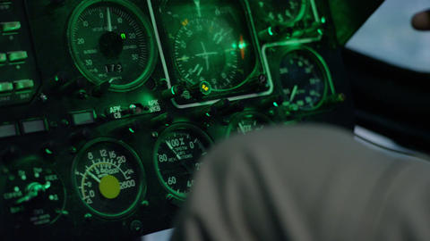 Instrument Panel in Helicopter Cockpit Simulator Footage