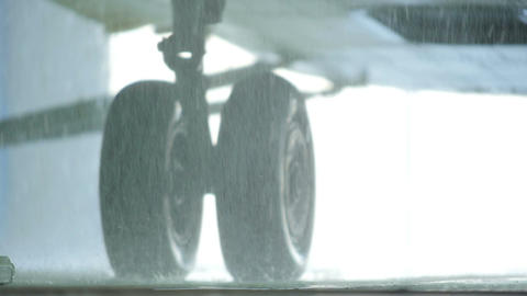 Macro Rain Drops Fall by Helicopter Landing Gear Footage