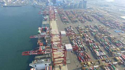 aerial view of Stacks containers Terminal in Kaohsiung. Taiwan Footage