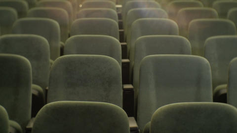 Closeup Front Row Empty Chair in Cinema Hall Footage
