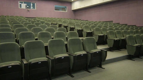 Panorama from Wall to Row Empty Chair Cinema Footage