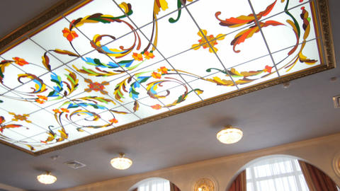 Panorama from Arch Window to Stained Glass Ceiling Footage
