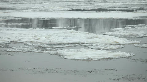 Floating of ice on the river Footage