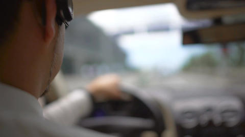 Busy businessman driving to work over the bridge, urban traffic, transportation Footage