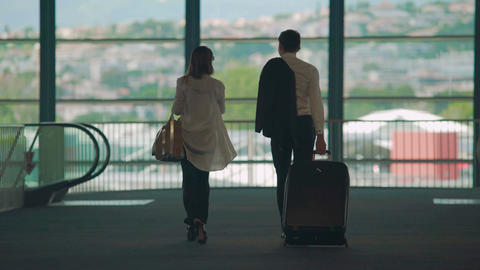 Business partners walking to airport escalator, carrying luggage, tourism Footage