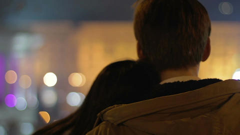 Tender couple enjoying amazing view on night city, romantic date, first love Live Action