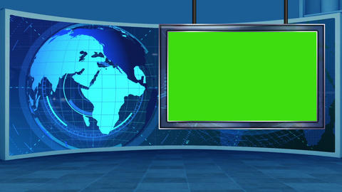 HD News-16 TV Virtual Studio Green Screen Background Blue with Globe & Monitor Animation