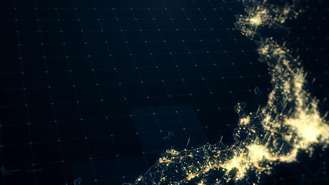 Japan Map Night Lighting Close View Animation