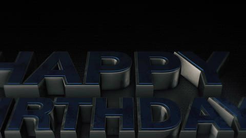 Metal 3D text Happy Birthday with reflection and light Animation