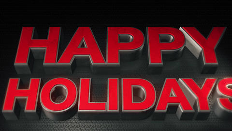 Metal 3D Text Happy holidays with reflection and light Animation