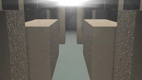 Entrance to the stone maze. 3D rendered Animation