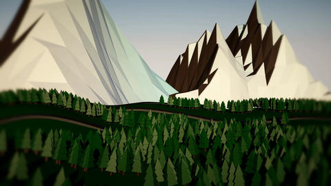 Low poly landscape. The trees, the mountains and the road. 3d render Animation
