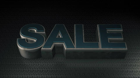 Metal 3D Text SALE with reflection and light Animation
