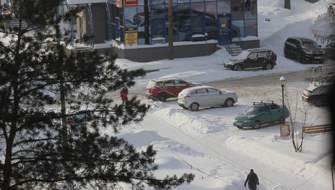 6 transporе winter outdoors stop road Filmmaterial