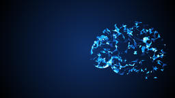 Low poly brain. Technology background. 3D rendered フォト