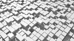 Abstract surface of moving cubes. 3D rendered Photo