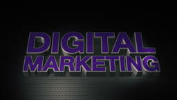 Metal 3D Text Digital marketing with reflection and light フォト