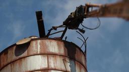 Demolition crane arm destroy rusty metal construction Footage