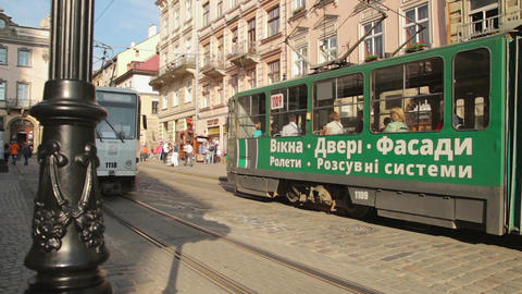 Trams in an old European city Footage