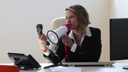 Arrogant agent with loudspeaker talk back to the customer Footage