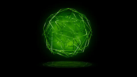 Green Lines Sphere Stock Video Footage