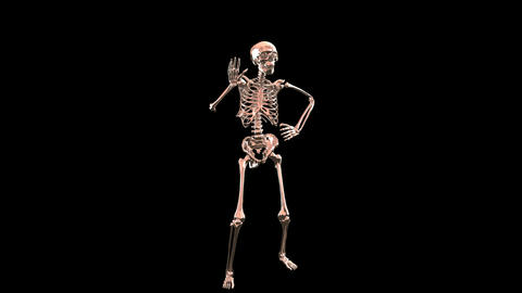 Skeleton Disco Dancing . Chrome - Hell Red + Alpha CGI Stock Video Footage