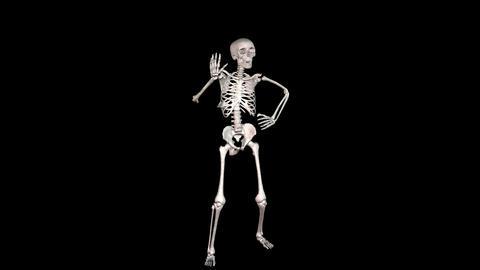 Skeleton Disco Dancing - White + Alpha CGI Stock Video Footage