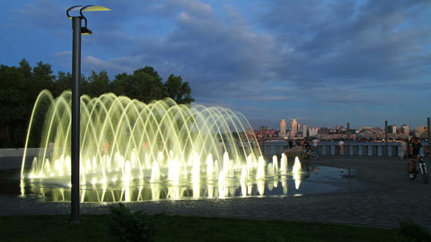 4K. time lapse of fountain on the waterfront of... Stock Video Footage