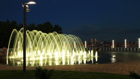 4K. time lapse of fountain on the waterfront of Dnepropetrovsk. 4096x2304 Footage
