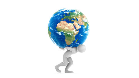 Joe Carrying Earth (HD + Alpha) Stock Video Footage