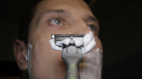 razor shaves POV close up time lapse Stock Video Footage