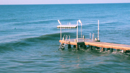 WAVES ON PIER Stock Video Footage