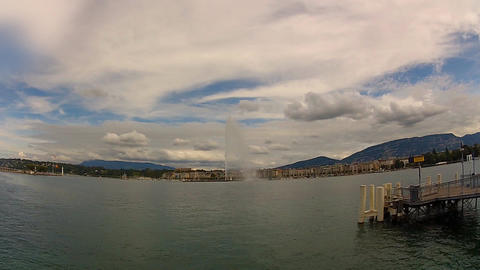 geneva lake fountain 9 Stock Video Footage