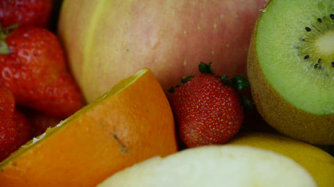 Rotation of delicious fruit plate Footage