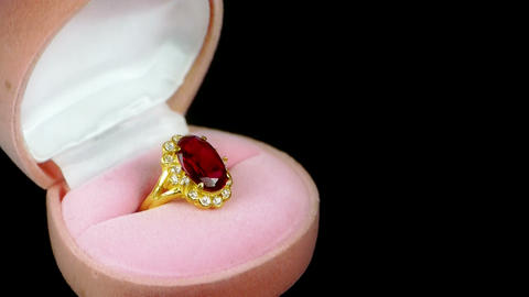 Rotation of ruby diamond ring Stock Video Footage