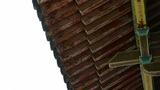 looking up roof eaves,China ancient architecture in bamboo forest,carved beams & Footage