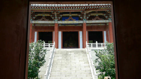 Enter yard from door of Chinese ancient buildings,saw... Stock Video Footage