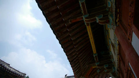 China ancient temple architecture in forest Stock Video Footage