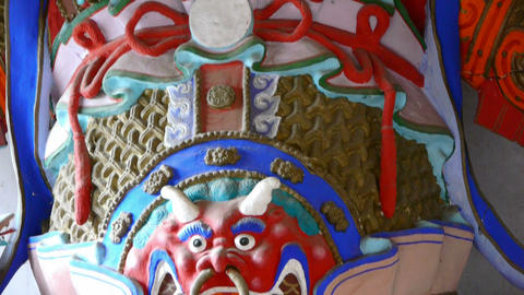 Chinese immortals Buddhist Vajra sculpture in carved... Stock Video Footage