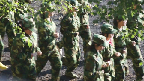 Military training of Chinese students 03 Stock Video Footage